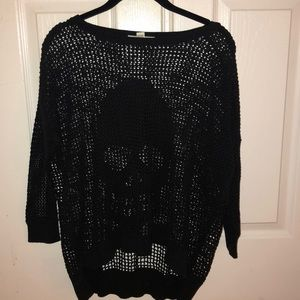 Black knit skull sweater size M